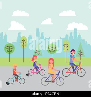 people park road trees buildings happy family riding bicycles vector illustration - Stock Photo