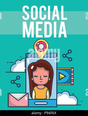 Social media and smartphone - Stock Photo