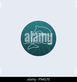 One line dolphin logo - Stock Photo