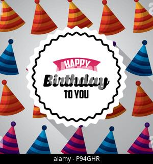 Happy Birthday Card Sticker Sign Celebrate Hats Party Vector Illustration