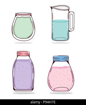 Set of detox juices - Stock Photo