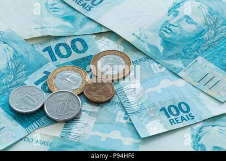 Brazilian money, reais, high denominations - Stock Photo