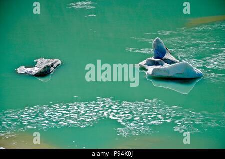 Pasterze glacier Austria, Grossglockner Austria, glacier water, emerald colored water, ice, glacier melting, mountains, natural - Stock Photo