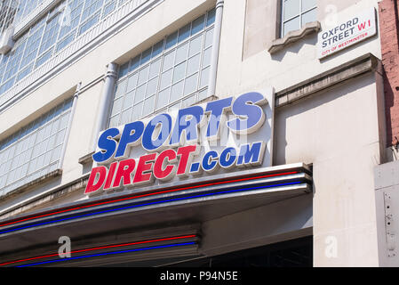 Oxford street, London, UK. 10th June 2018. Sport Direct.com store in Oxford street, sign at the main entrance of the mega store. - Stock Photo