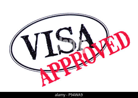 Approved visa passport rubber stamp isolated on white background - Stock Photo