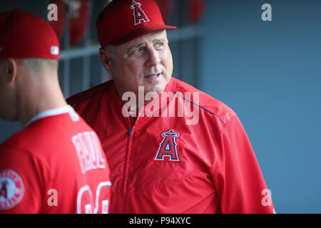 Los Angeles, CA, USA. 13th July, 2018. Los Angeles Angels manager Mike Scioscia (14) eyes the video monitor before the game between the Los Angeles Angels of Anaheim and the Los Angeles Dodgers, Dodger Stadium in Los Angeles, CA. Photographer: Peter Joneleit. Credit: csm/Alamy Live News - Stock Photo