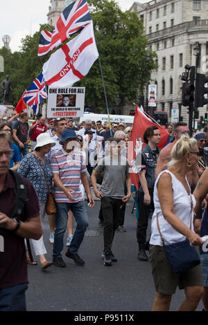 London, UK. 14th July 2018. Protestors campaigning for the release of jailed Tommy Robinson, co founder and former leader the English Defence League - Stock Photo
