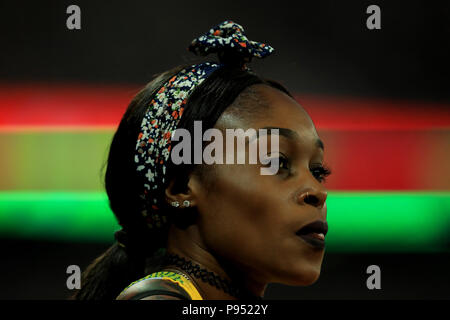 London Stadium, London, UK. 14th July, 2018. The Athletics World Cup, day 1; Elaine Thompson (JAM) Credit: Action Plus Sports/Alamy Live News - Stock Photo