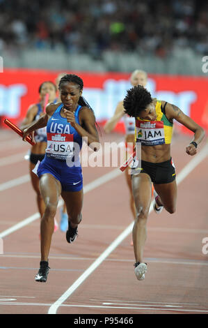 London, UK. 14th July, 2018. Team USA beat Jamaica into second place in the women's 400x400 metres relay in a time of 3:24.28 at the inaugural Athletics World Cup. Credit: Nigel Bramley/Alamy Live News - Stock Photo