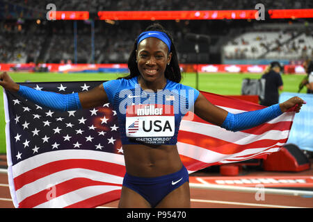 London, UK. 14th July, 2018. Ashley Henderson wins the women's 100 in a time of 11.07 seconds. Credit: Nigel Bramley/Alamy Live News - Stock Photo