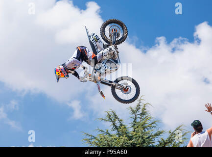 Goodwood, West Sussex, UK, 14th July 2018. Freestyle Motocross at the Gas arena Goodwood Festival of Speed. © Tony Watson/Alamy Live News - Stock Photo