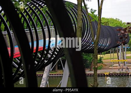 Germany, North Rhine-Westphalia - Rehberger Bridge Slinky Springs to Fame in Oberhausen - Stock Photo