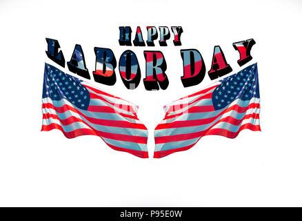happy labor day with two american flags. greeting cards for national patriotic holiday - Stock Photo