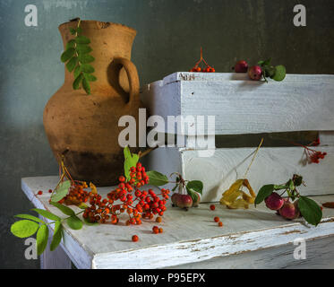 still life with berries and wild apples. vintage. - Stock Photo