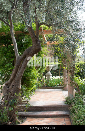 Gardens at Villa Ephrussi de Rothschild Saint-Jean-Cap-Ferrat - Stock Photo