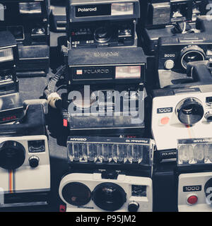 Berlin, Germany - july 2018: Old retro camera / vintage polaroid camera collection,  on flea market at  Mauerpark  in Berlin, Germany