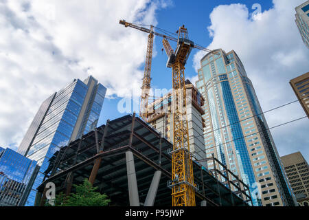 Skanska's 2+U Towers construction site in downtown Seattle. 2&U will be a high rise office building to be completed in 2019. WA, USA, June 2018. - Stock Photo