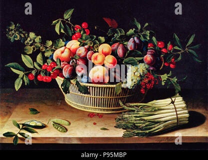 Still Life with a Basket of Fruit and a Bunch of Asparagus - Louise Moillon, circa 1630 - Stock Photo