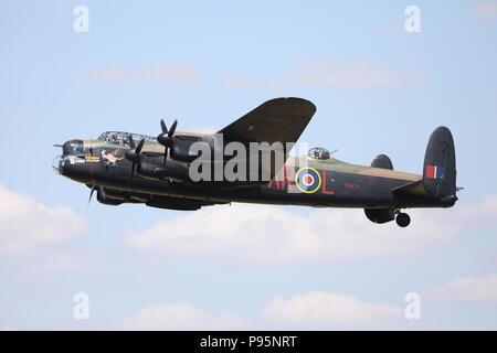 RAF Avro Lancaster Bomber Fairford RIAT Sunday 15th July 2018 Military Aeroplane Royal International Air Tattoo RAF100 PA474 - Stock Photo