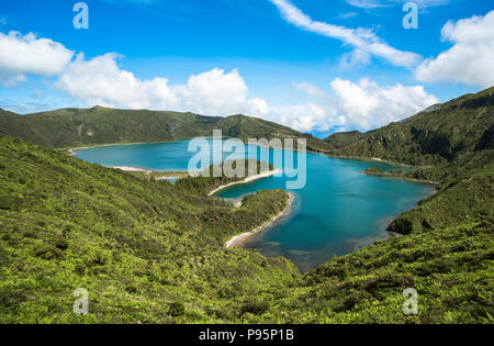 Panoramic view of Fogo lake in Sao Miguel Island, Azores, Portugal - Stock Photo
