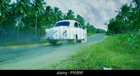 passing car at high speed on the way, nature background - Stock Photo