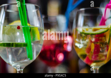 fresh and refreshing cocktails based on gin, a distinctive herbal flavor, bar - Stock Photo