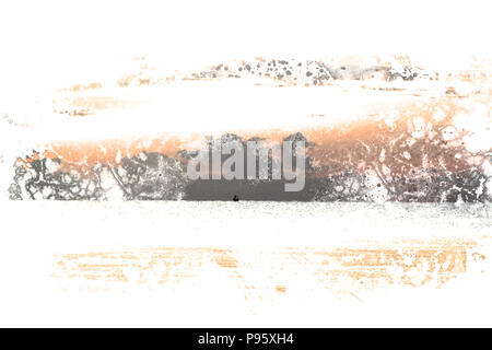 Abstract sunlight, sunrise, sunshine on watercolor painting background. - Stock Photo