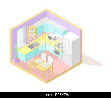 Vector isometric low poly cutaway interior illustartion. Kitchen - Stock Photo