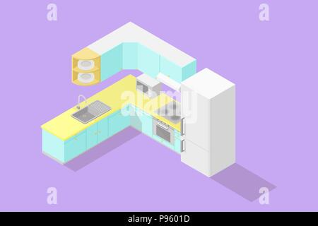 Low poly isometric kitchen set - Stock Photo