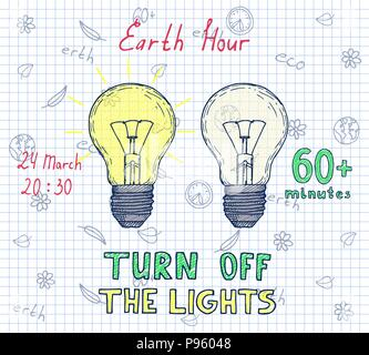 Earth hour hand drawn poster - Stock Photo
