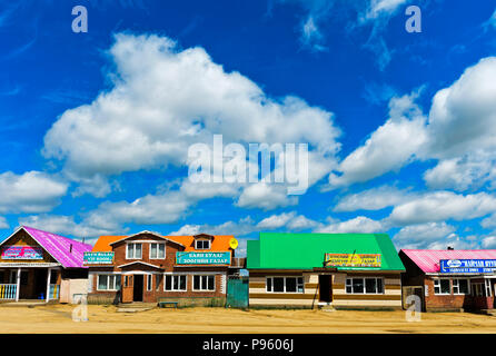 Teahouses and fast food restaurants at a national road near Ulaanshiveet, Bulgan Province, Mongolia - Stock Photo