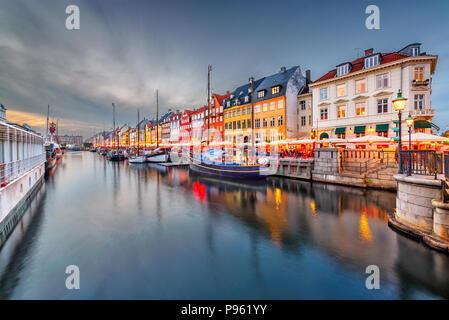 Copenhagen, Denmark on the Nyhavn Canal. - Stock Photo