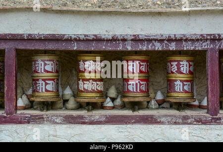 Leh, India - Jul 15, 2015. Tibetan Buddhist prayer wheel at the temple in Leh, India. - Stock Photo