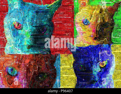 Abstract painting. Colorful cats. - Stock Photo
