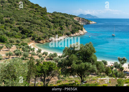 Yacht at anchor at Filiatro beach. On the East coast of the  island of Ithaca, Ionian Sea, Greece - Stock Photo