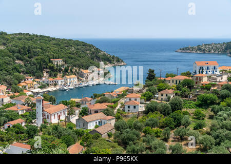 Looking down on the village and harbour of Kioni on the north eastern side of the island of Ithaca, Ionian Sea, Greece - Stock Photo