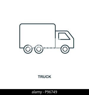 Delivery truck icon flat style lorry isolated on white for Truck design app