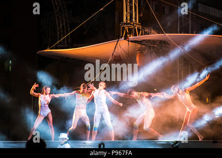 Bucharest, ROMANIA - July 14 2018: Sonics in Wish performance at Street Theater Festival. Dancers preparing for aerial acrobatics performed on overtur - Stock Photo
