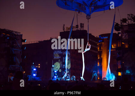 Bucharest, ROMANIA - July 14 2018: Sonics in Wish performance at Street Theater Festival. Blindfolded dancers climbing the rope and performing aerial  - Stock Photo
