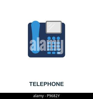 Telephone flat icon. Premium style flat icon design. UI. Illustration of telephone flat icon. Pictogram isolated on white. Ready to use in web design, - Stock Photo