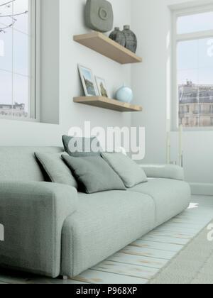 modern skandinavian interior design living room in white style - Stock Photo