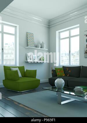 modern skandinavian interior design living room in white - Stock Photo