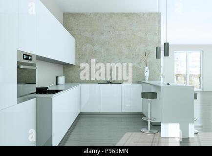 Blue modern kitchen interior design illustration - Stock Photo