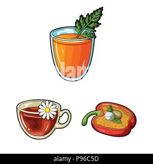 Vegetarian dish cartoon icons in set collection for design.Vegetable and milk food vector symbol stock  illustration. - Stock Photo