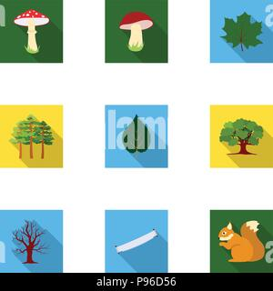 Forest set icons in flat style. Big collection of forest vector symbol stock - Stock Photo