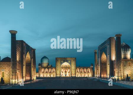 View to Registan Square at Night in Samarkand Uzbekistan - Stock Photo