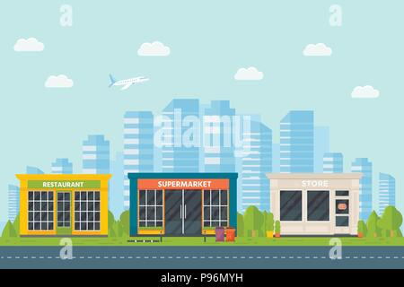 Set of vector flat design restaurants exterior and shops facade: book store, barber shop, supermarket, coffee. Store front window buildings icons with - Stock Photo