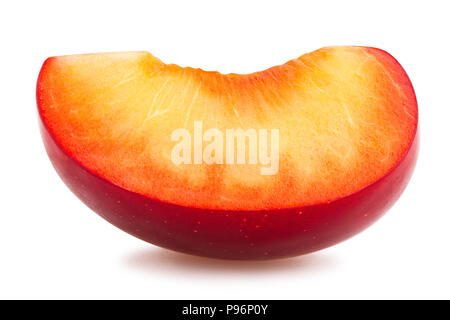 sliced red plum path isolated - Stock Photo