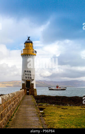 The Tobermory – Kilchoan ferry passing Rubha nan Gall lighthouse on the  Sound of Mull nr Tobermory, Mull, Argyll and Bute, Scotland, UK - Stock Photo