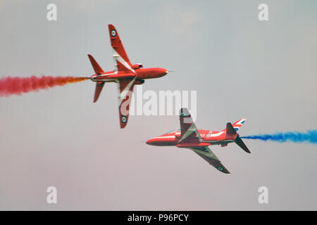 Red Arrows, Royal Air Force Aerobatic Team - Stock Photo